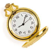 gold pocket watch isolated on whit