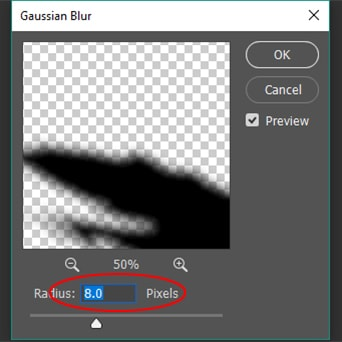 increase the value of Radius around 8.0 pixels