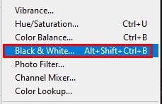 click on the Black and White option