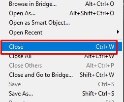 click on the Close option